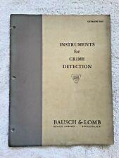 1937 Bausch & Lomb Crime Detection Instruments Catalog Forensics CSI