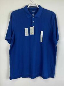 NWT Croft And Barrow Mens Colorful Short Sleeve Pique Polo Shirt Blue Size XL