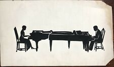 Louise Browning 1931 Man And Woman Playing Pianos Early And Rare Silhouette