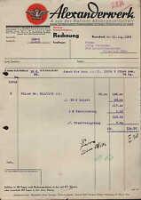REMSCHEID, Rechnung 1939, Alexander-Werk, A. von der Nahmer AG, Abt. Fleischerei