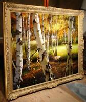 "Hand painted Original Oil Painting art Landscape birch forest on canvas 30""X40"""