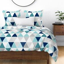 Cheater Blue Teal Triangle Nursery Modern Sateen Duvet Cover by Roostery