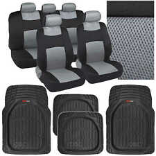 13 Pc Interior Protection - Gray/Black Car Seat Cover and Deep Dish Rubber Mats