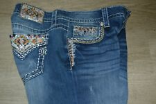 MISS ME SIZE 29X34 NATIVE CRYSTAL WESTERN BOOT CUT JEANS JP7682B NWT