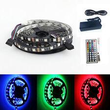 Black PCB 5050 RGB LED Strip 5M 300SMD Light 44key IR Controller 12V5A Power Kit