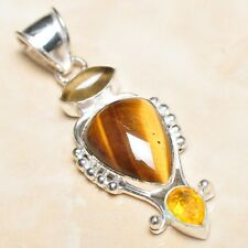 "Handmade Golden Tiger's Eye Gemstone 925 Sterling Silver Pendant 2.25"" #P07418"