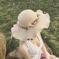 Women Ladies Summer Sun Beach Hat Outdoor Sun Hat with Flowers Elegant JH