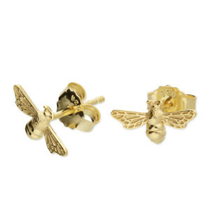 Sterling Silver Bee Stud Earrings & Yellow Gold - Plated - Bumble Bee -