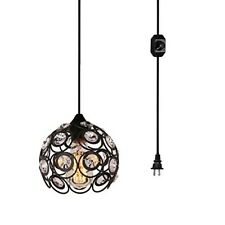 1-Light Hanging Plug-In Pendant Black Swag Hooks Ceiling Best Lamp Home New
