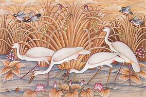 Hand painting Balinese Sparrow Stork Birds 304