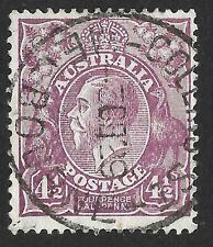 Australia 1928 4 1/2 D VIOLET PERF. 13 1/2 x 12 1/2 SG 103 (BELLE USATO)