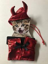 Devil Metallic Red Cat Hat & Cape Halloween Costume New