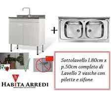 Mobile Lavello per Cucina 80x50 Bianco 2 Ante + 2 Vasche Acciaio Inox