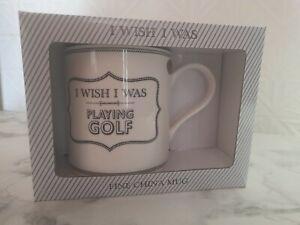 I wish I was playing Golf Leonardo Mug Fine China in box - BRAND NEW Dad gift