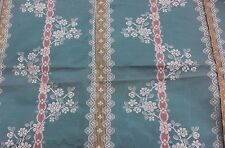 "French Antique 19thC ""Hamot"" Brocaded Moiré Silk Lampas Sample Fabric~Turquoise"