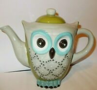 NEW Glazed Ceramic OWL Teapot FULL SIZE Green Grey Blue- Really Cute-