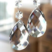 10pcs Clear Teardrop Crystal Glass Beads Chandelier Ornaments Xmas Hanging Decor
