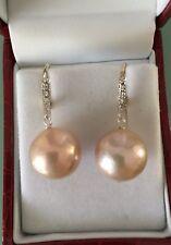Süßwasser Edison / Ming Perlen Ohrringe 14k /585 Gold mit Diamanten