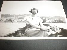 Old photograph woman on boat Oban Bay 1933