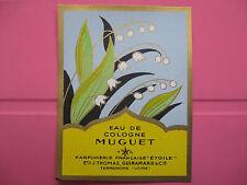 1 ANCIENNE ETIQUETTE D'EAU DE COLOGNE MUGUET/ANTIQUE PERFUME LABEL FRENCH PARIS