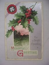 Vintage Embossed Christmas Postcard Silver W/ Country Scene, Holly & Clover 1909