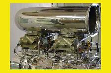 Dual Holley 2 carburetors polished all aluminum blower tunnel ram fuel line kit