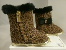 2 Michael Kors Infant Shoes Baby Baba 888 BOOTIES Leopard Print Cute 3-6 MO