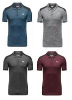 New Under Armour Golf Polo Contrast Shoulder Grey Black Blue Red Marl (Fitted)