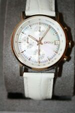 NIB DKNY Mother of Pearl Stainless Steel White Leather Strap Watch