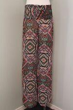 See You Monday Womens M Palazzo Pants Bright Bohemian Boho Print Built in Shorts
