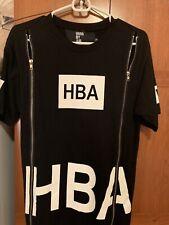 HBA Hood by Air Black Box Logo Double Zip Cotton Crew Neck T-Shirt Medium Size