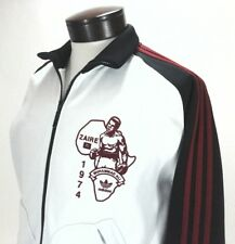 ADIDAS Track Jacket Muhammad Ali Zaire White/Black Red Stripes Zip Men's S RARE