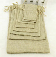 5 Natural Jute Hessian Bags Burlap Wedding Favor Bags Drawstring Gift Bags