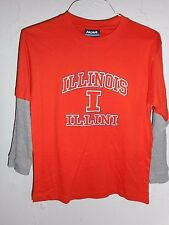 Illinois Fighting Illini Long Sleeve T-Shirt kids size Large New Orange