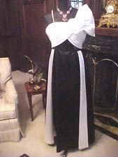 VINTAGE LADIES WOMEN WEDDING BALLROOM GOWN BLACK WHITE SATIN PETITE 4-6 ALTERED