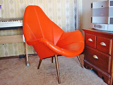 EAMES MID-CENTURY MODERN ORIGINAL ORANGE VINYL UPHOLSTERY HIGH-BACK CHAIR
