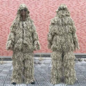 Tactical 3D Ghillie Suit Clothing Hunting Withered Birding Pants Hooded Jacket
