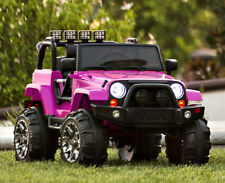 Pink Ride On Car Electric Jeep Girls 12V Battery Powered 3 Speed LED Light Radio