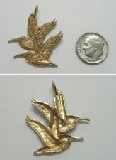 Gold Double Flying Pelican Bird Pendant/Charm J939 Vintage Rak 14K Solid Yellow