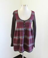 Free People Brown Burgundy Babydoll Sweater Size S Merino Wool Angora Rabbit
