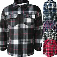 Mens Sherpa Fleece Lined Lumberjack Fur Thick Shirt Work Jacket Check Warm M-4XL