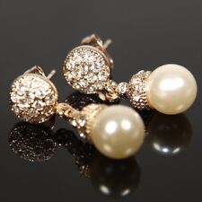 """9ct 9K """" Gold Filled """" 8 mm Pearls Earring made with Swarovski Crystal E460G"""