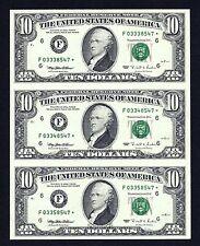 Uncut strip of (3) notes $10 1995 Federal Reserve *STAR* Notes ATLANTA (F*) GEM