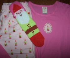 NWT Munki Munki Pink GNOMES Flannel Pants/Knit Top/PLUSH SOCKS Pajamas Set L