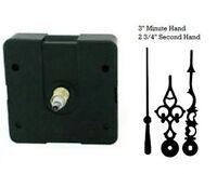 """Quartex Quartz Clock Movement Kit - 3"""" Black serpentine Hands - 1/4"""" thick dials"""