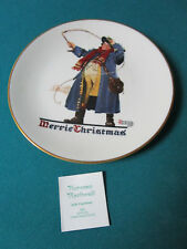 """NORMAN ROCKWELL COLLECTOR PLATE """"JOLLY COACHMAN"""" 1982 CHRISTMAS PLATE NIB"""