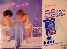 PUBLICITÉ 1982 LOTUS COUCHE ANTI-FUITE SUPER NUIT 12-18 KG - ADVERTISING