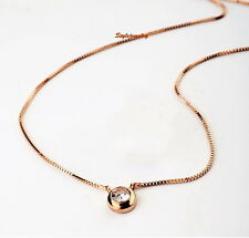 Rose Gold Filled Round Single Diamond Necklace Made With Swarovski Crystal N166