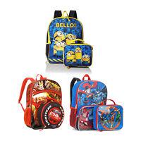 "16"" Back To School Boys Girls Kids Backpack Bag with Lunch Bag Bundle"