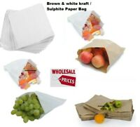 Brown / White Sulphate Paper Bags! Food Use/Sandwich/Takeaway/Grocery/Fruit/Veg